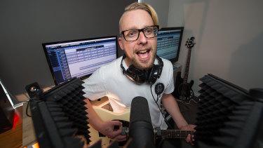 Daniel Whitehead at work in the recording studio.