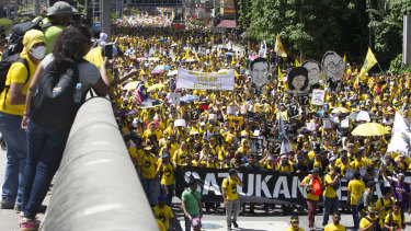 Activists from the Coalition for Clean and Fair Elections (Bersih), march during a rally in Kuala Lumpur in 2016.