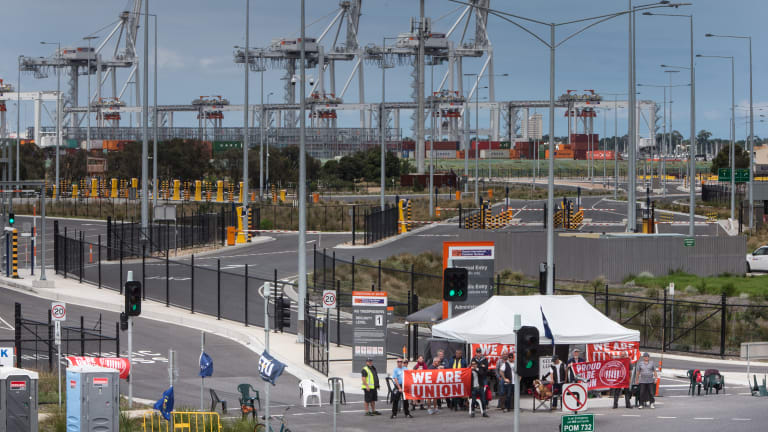 Union action at Melbourne's waterfront.