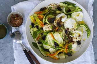 Zucchini and buffalo mozzarella salad with mint, dried olives and anchovy dust.