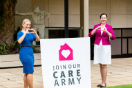 """Then-innovation minister Kate Jones and Premier Annastacia Palaszczuk launching the """"care army"""" last year."""