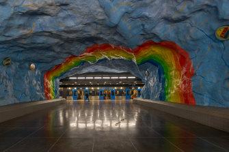Stadion metro station in Stockholm.
