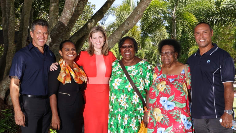 Torres Strait Regional Council CEO Bruce Ranga, Candidate for Cook Cynthia Lui, Ministerial Champion for the Torres Strait Shannon Fentiman MP, Aunty Ivy Trevallion, Aunty Rose Elu and Torres Strait Island mayor Fred Gela at the press conference on Wednesday.