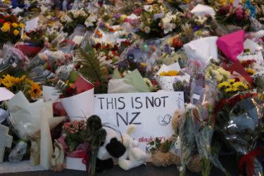 Flowers lay at a memorial near the Masjid Al Noor mosque in Christchurch.