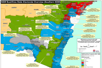 Southern NSW Map showing the impact of last summer's bushfires on NSW electorates.