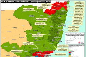 Northern NSW Map showing the impact of last summer's bushfires on NSW electorates.
