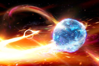 An artist's impression of a black hole about to swallow a neutron star.