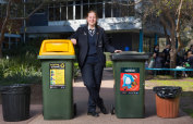 Putting the bins out: year 11 student Lucy Skelton.