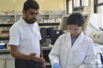 Dr Manickam Minakshi and PhD student Kethaki Wickramaarachchi ground the cracked egg before baking it to incite a chemical reaction.