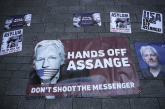 Supporters of Assange outside court in London this week.