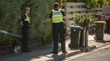 Police outside the home in Albert Street, Brunswick.