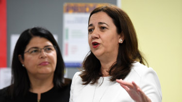 Queensland Premier Annastacia Palaszczuk and Education Minister Grace Grace at Bremer State High School on Tuesday.