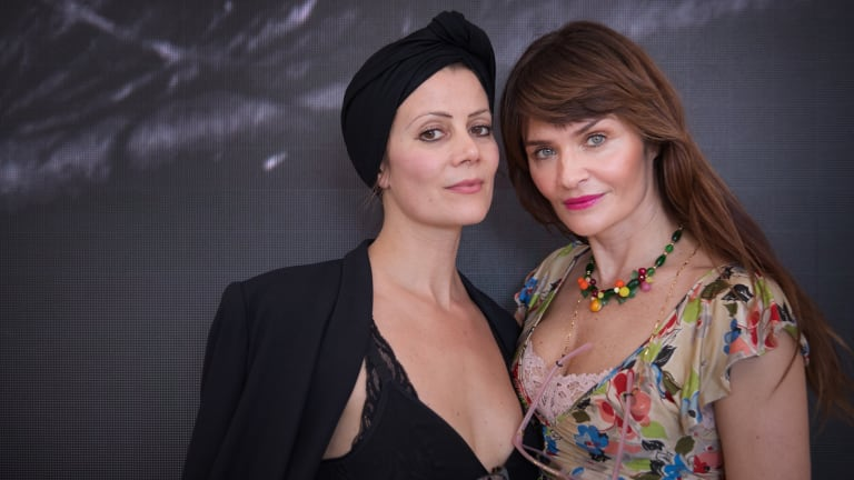 Helena Christensen (right) with her business partner Camilla Staerk in Melbourne on Thursday.
