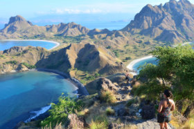 KOMODO NATIONAL PARK, INDONESIA - MAY 23TH, 2018: Unidentified woman hiking at Pulau Padar island, inside the Komodo National Park, Indonesia, on May 23th, 2018 - Image SatFeb16Indonesia - Komodo Island, Indonesia - Brian Johnston