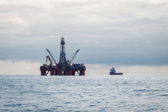A drilling rig in the Barents Sea. Groups in Norway are taking their government to court for opening up new mining.