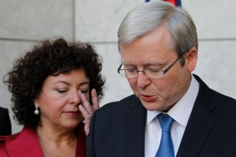 In June 2010, Thérèse Rein watches on as a sober Rudd speaks after being deposed.