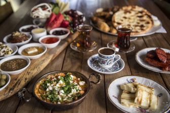Efendy's Turkish brunch platter includes 30 delicacies to share.