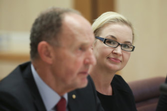 Great Barrier Reef Foundation chair John Schubert and managing director Anna Marsden at a Senate hearing this month.