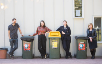 From left: Melbourne Girls' College teachers Andrew Vance and Paula McIntosh, student Lucy Skelton and principal Karen Money.