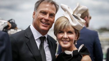 David Panton and Julie Bishop pictured at Derby Day in 2015.