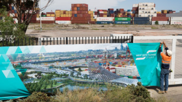 Work started at the West Gate Tunnel site in Footscray in January.