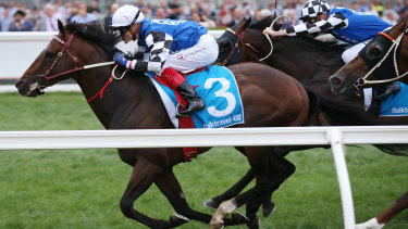 Brave Smash , ridden by Craig Williams, wins the Futurity Stakes at Caulfield today.