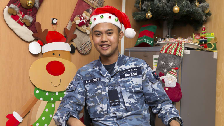 Jericho Sayson is spending Christmas in the Middle East with the Australian Defence Force.