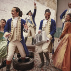 Lin-Manuel Miranda (second from left) and other members of the original Hamilton cast. Every year since its 2015 premiere, the musical has made more money than any other show on Broadway.