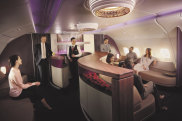 Qatar Airways A380 business class lounge on board