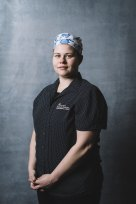 Stephanie Russell, a cleaner at Royal Melbourne Hospital, is among health care workers whose portrait is part of the Parkville photo gallery.