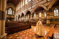 Archbishop Philip Freier hosts Easter Sunday service, 10 days early, in an empty St Paul's Cathedral.