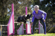 Nailed it ... again: Rihanna and Roslyn Atyeo train for Sunday's agility dog trials at Royal Melbourne Show.