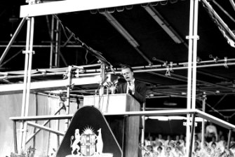 Evangelist Billy Graham at his crusade at the Sydney Sportsground on 12 April 1959.