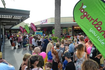 High Hopes: the opening day of the Marketown Yogurtland store where participants tried to beat the record for the most number of free frozen yoghurts eaten.