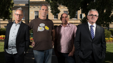 Anti-poker machine campaigners, (left to right) Charles Livingstone, Pat Caplice, James Boyce and Andrew Wilkie, in Hobart,