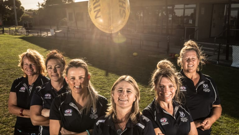 Footy for fun: Some of those signed up for the inaugural Women's AFL Masters, for over 30s: left to right: Annie Baldwin, Lianne Salerno, Naomi Rice, Lee Brown, Jill Chalmers and Breeze Smith.