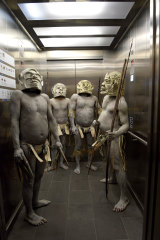 The Asaro Mud Men of the Eastern Highlands of Papua New Guinea at the Australian Museum in 2016.