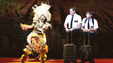 Phyre Hawkins, Ryan Bondy and A.J. Holmes in <em>The Book of Mormon</em>.