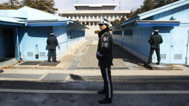 South Korean soldiers stand guard at the border village of Panmunjom in Paju, South Korea.