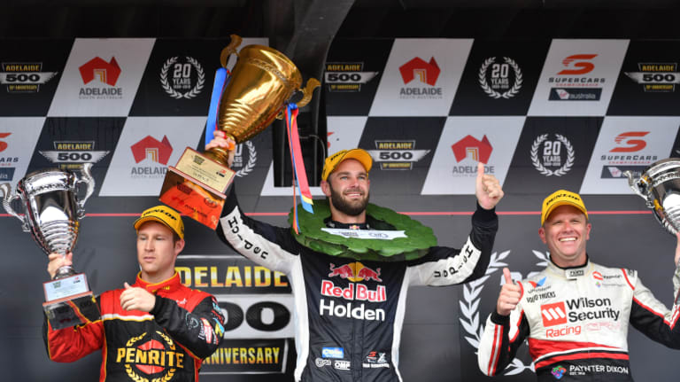 Perfect record: Shane van Gisbergen from Red Bull Holden Racing Team is flanked by David Reynolds from Erebus Penrite Racing (left) and Garth Tander from Wilson Security Racing GRM on the podium.