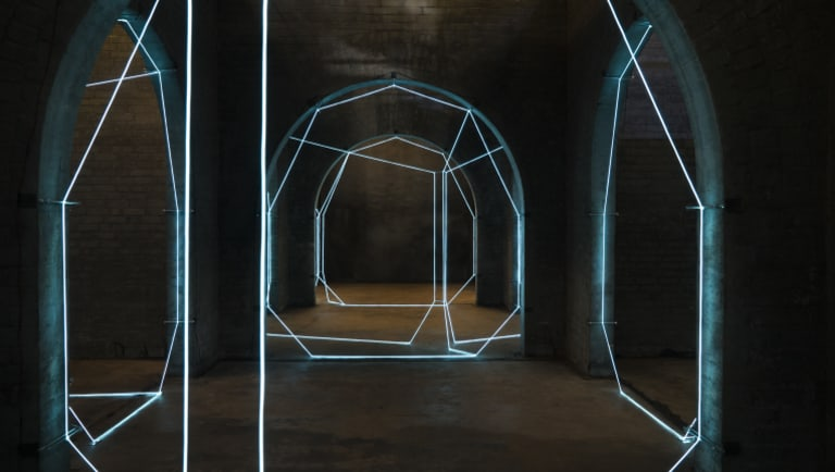 The Weight of Light artwork at the Spring Hill reservoirs, by Brisbane artist Meagan Streader.