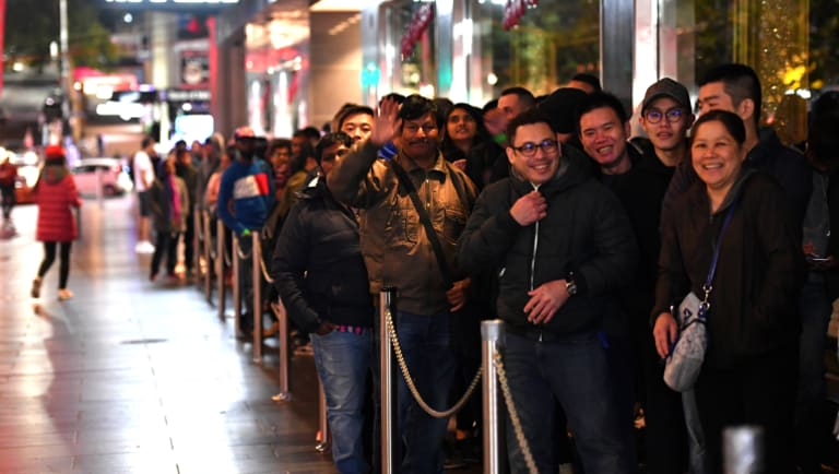There was a healthy line outside Myer Bourke Street early on Tuesday morning.