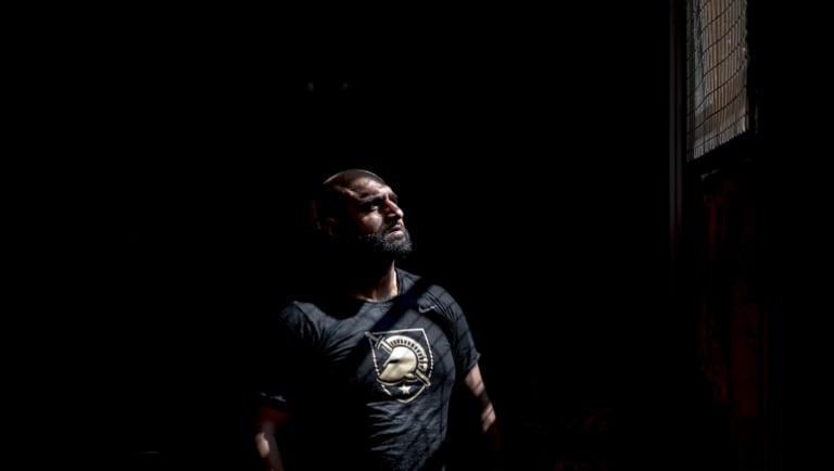 Usman Raja, a former cage fighter, at the Fight Science Gym in Aldershot, England.</p> <p>