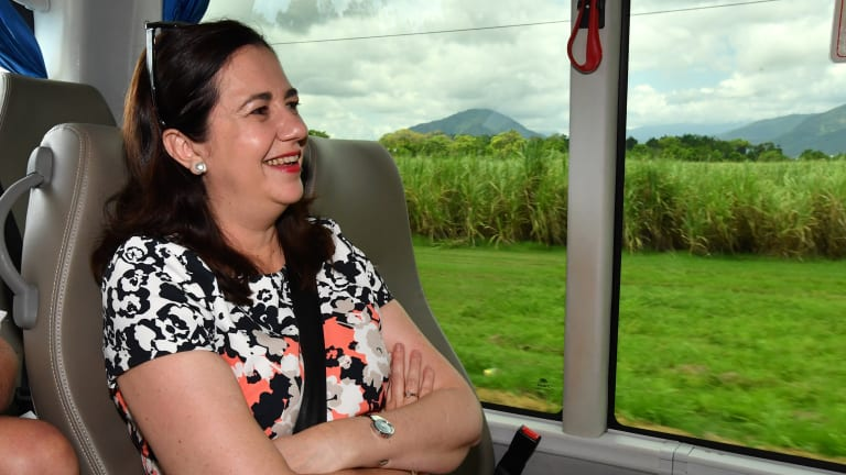 Premier Annastacia Palaszczuk on the campaign bus in far north Queensland on Wednesday.