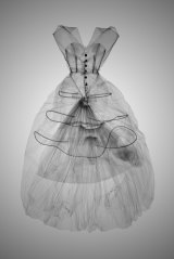 X-ray showing the boning and hooped skirt of a Balenciaga gown.