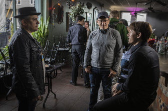 Joe Russo (left) and Anthony Russo with Tom Holland on the set of Cherry.