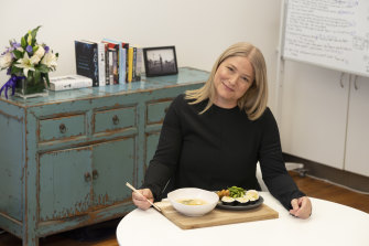TV producer Bruna Papandrea lunches on Japanese in her Sydney office.