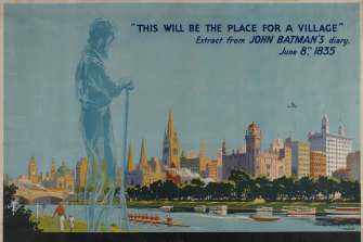 Poster by Percy Trompf. 'This will be a place for a village' Centenary celebrations, 1934