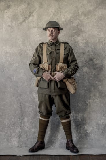 Rod Harris dresses up as his great-grandfather, a First World War corporal who survived the hostilities, though his brother perished.