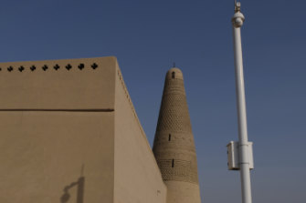 A surveillance camera at the famous Emin Minaret in Turpan, Xinjiang.